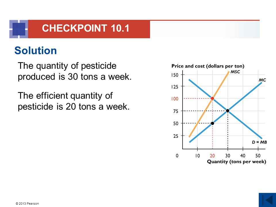 © 2013 Pearson Solution The quantity of pesticide produced is 30 tons a week.
