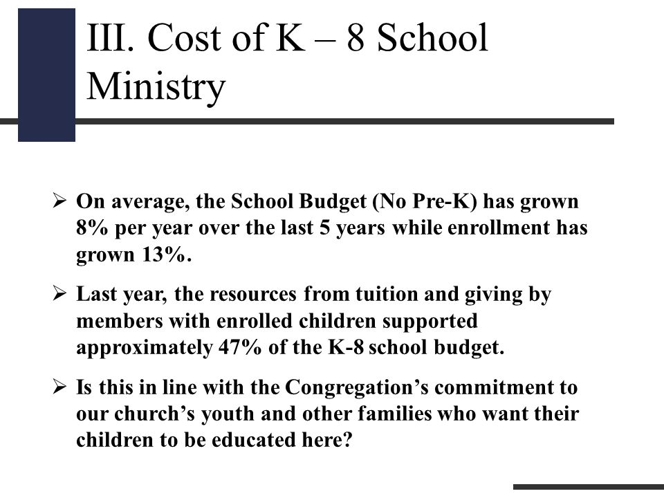  On average, the School Budget (No Pre-K) has grown 8% per year over the last 5 years while enrollment has grown 13%.