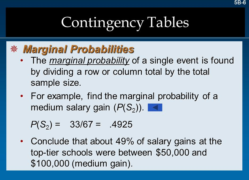 5B-17 Here is the contingency table of frequencies:Here is the contingency table of frequencies: Contingency Tables  Example: Payment Method and Purchase Quantity