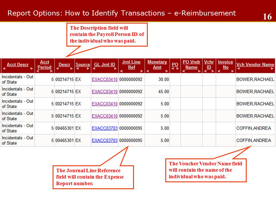Report Options: How to Identify Transactions – e-Reimbursement 16 The Description field will contain the Payroll Person ID of the individual who was paid.