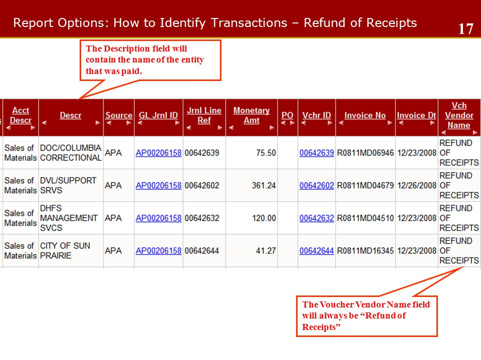 Report Options: How to Identify Transactions – Refund of Receipts 17 The Description field will contain the name of the entity that was paid.