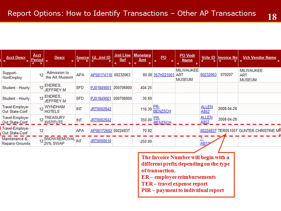 Report Options: How to Identify Transactions – Other AP Transactions 18 The Invoice Number will begin with a different prefix depending on the type of transaction.