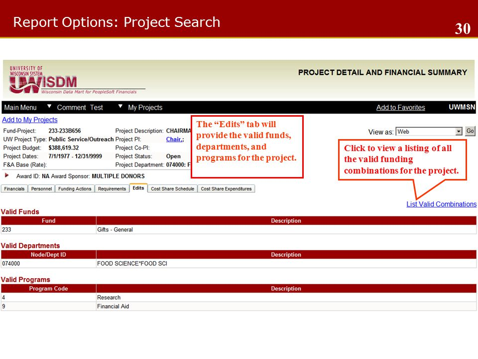 Report Options: Project Search 30 The Edits tab will provide the valid funds, departments, and programs for the project.
