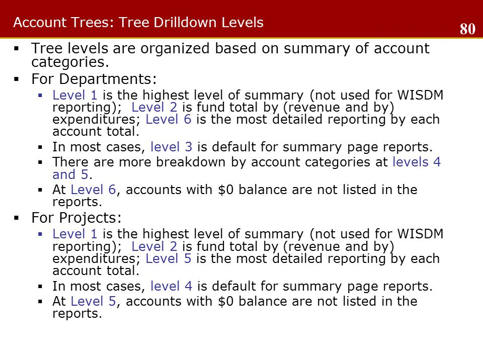 Account Trees: Tree Drilldown Levels  Tree levels are organized based on summary of account categories.