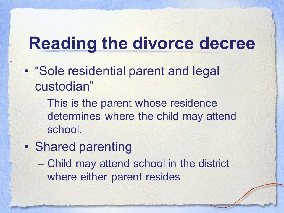 Domestic law for school employees Three general types of allocations: (R.C.