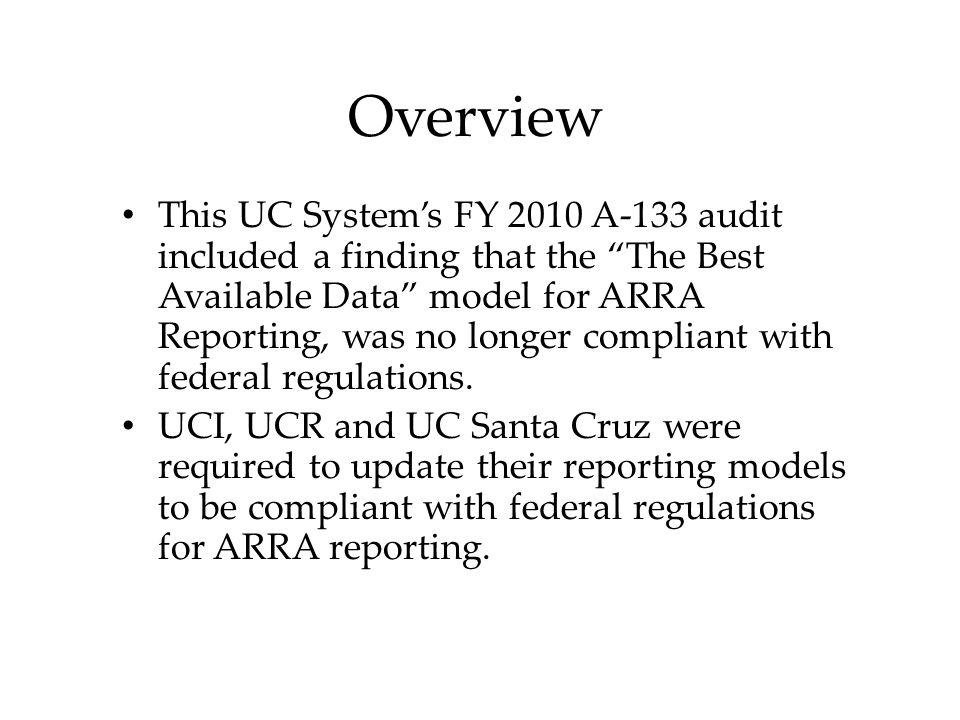 UCI's ARRA REPORTING Process Update