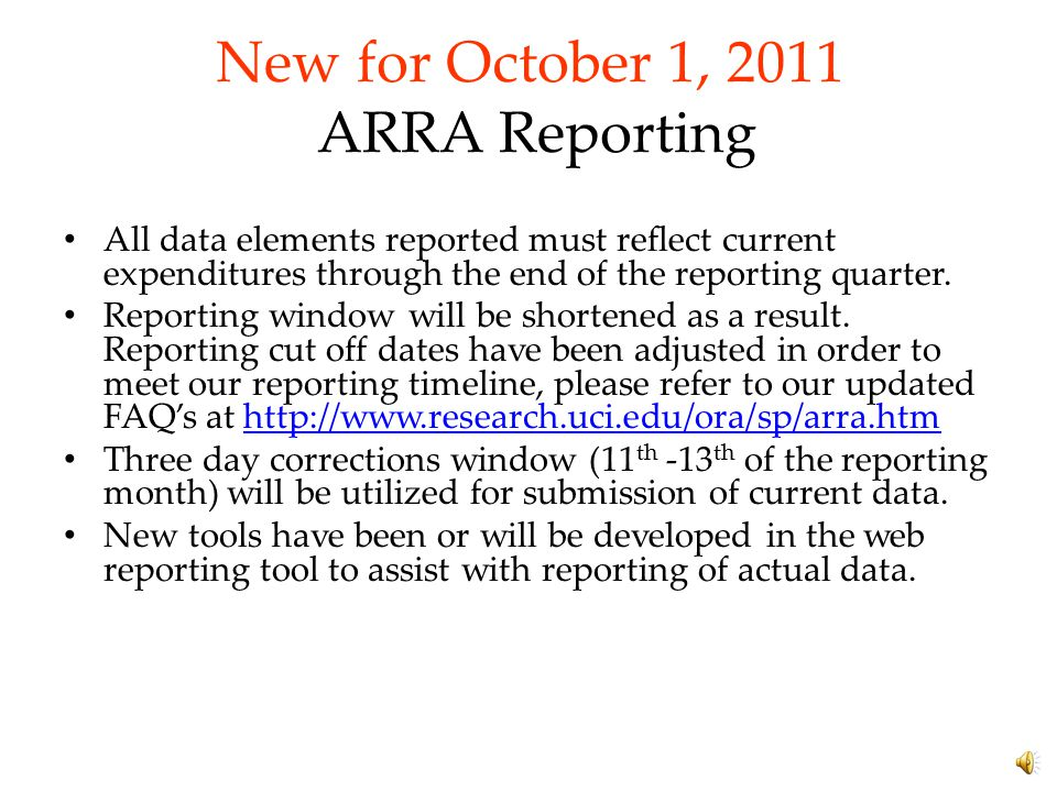 """Overview This UC System's FY 2010 A-133 audit included a finding that the """"The Best Available Data"""" model for ARRA Reporting, was no longer compliant"""