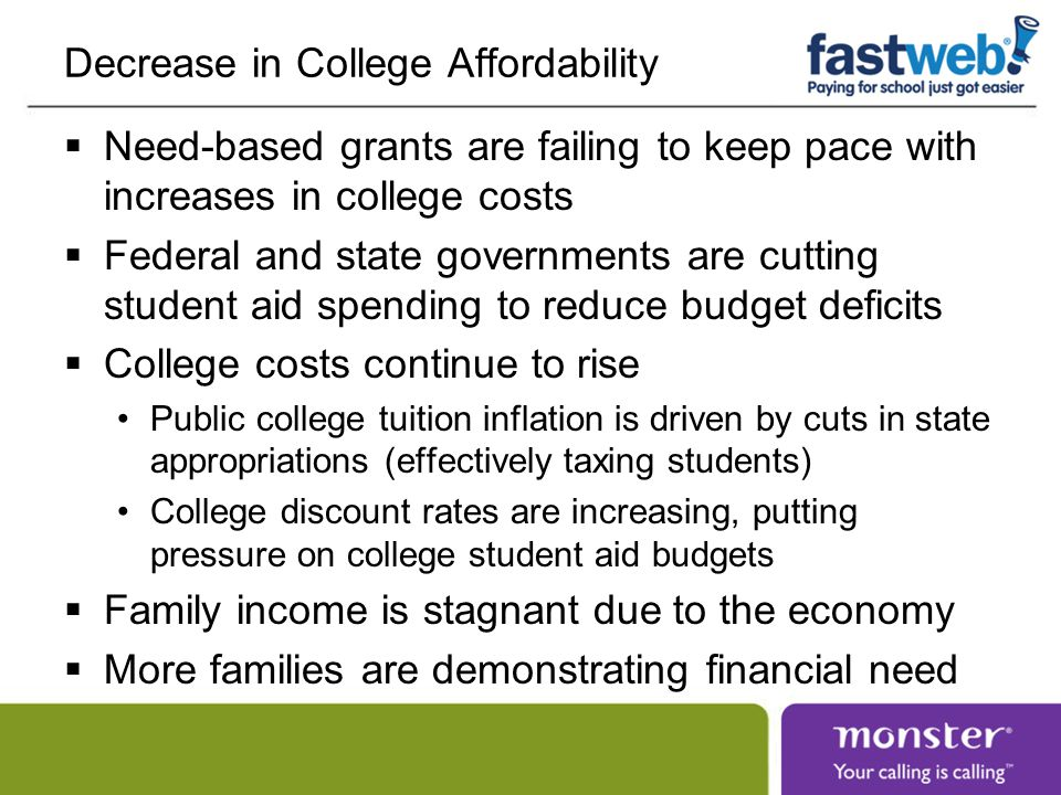 Decrease in College Affordability  Need-based grants are failing to keep pace with increases in college costs  Federal and state governments are cutting student aid spending to reduce budget deficits  College costs continue to rise Public college tuition inflation is driven by cuts in state appropriations (effectively taxing students) College discount rates are increasing, putting pressure on college student aid budgets  Family income is stagnant due to the economy  More families are demonstrating financial need