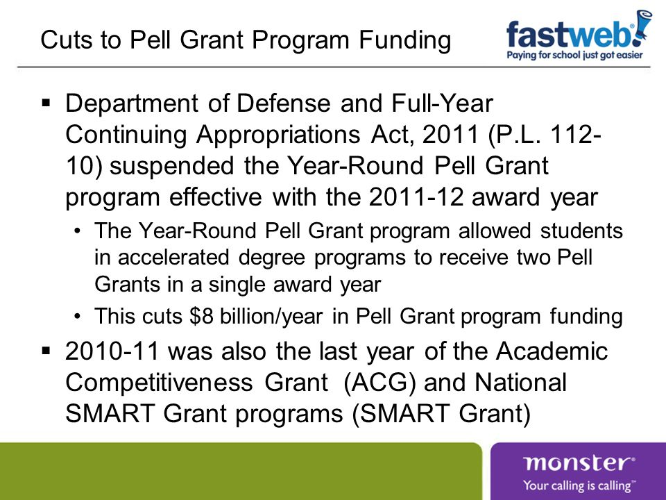 Cuts to Pell Grant Program Funding  Department of Defense and Full-Year Continuing Appropriations Act, 2011 (P.L.