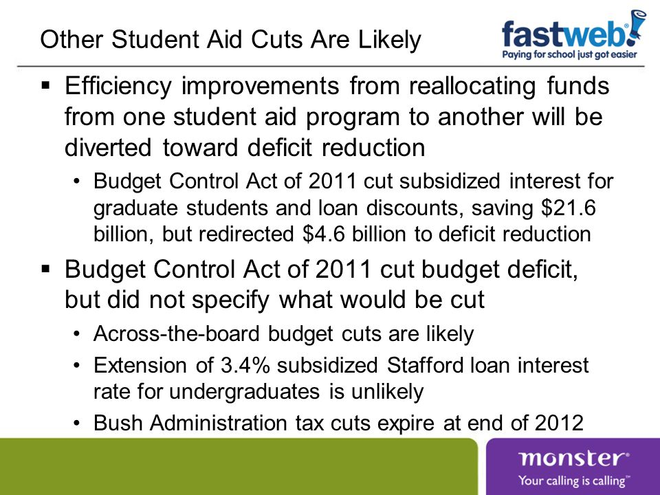 Other Student Aid Cuts Are Likely  Efficiency improvements from reallocating funds from one student aid program to another will be diverted toward deficit reduction Budget Control Act of 2011 cut subsidized interest for graduate students and loan discounts, saving $21.6 billion, but redirected $4.6 billion to deficit reduction  Budget Control Act of 2011 cut budget deficit, but did not specify what would be cut Across-the-board budget cuts are likely Extension of 3.4% subsidized Stafford loan interest rate for undergraduates is unlikely Bush Administration tax cuts expire at end of 2012