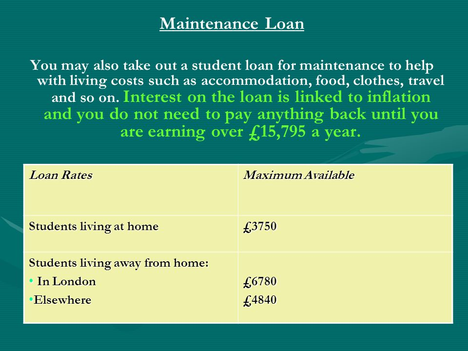 Maintenance Loan You may also take out a student loan for maintenance to help with living costs such as accommodation, food, clothes, travel and so on