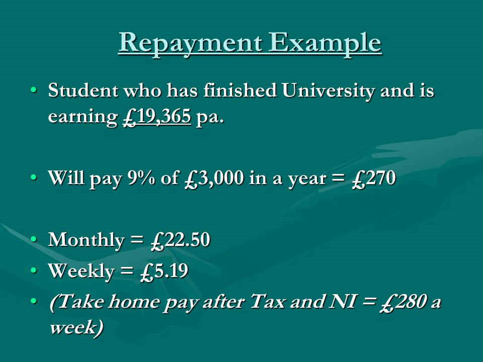 Repayment Example Student who has finished University and is earning £19,365 pa.Student who has finished University and is earning £19,365 pa.