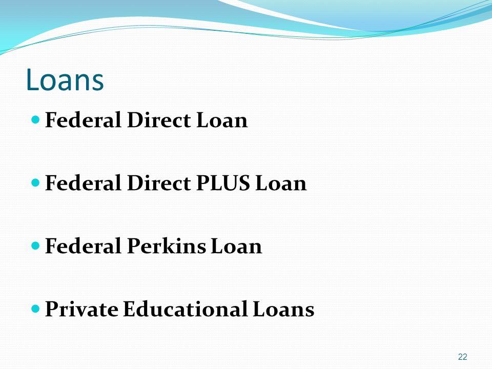 Loans Federal Direct Loan Federal Direct PLUS Loan Federal Perkins Loan Private Educational Loans 22