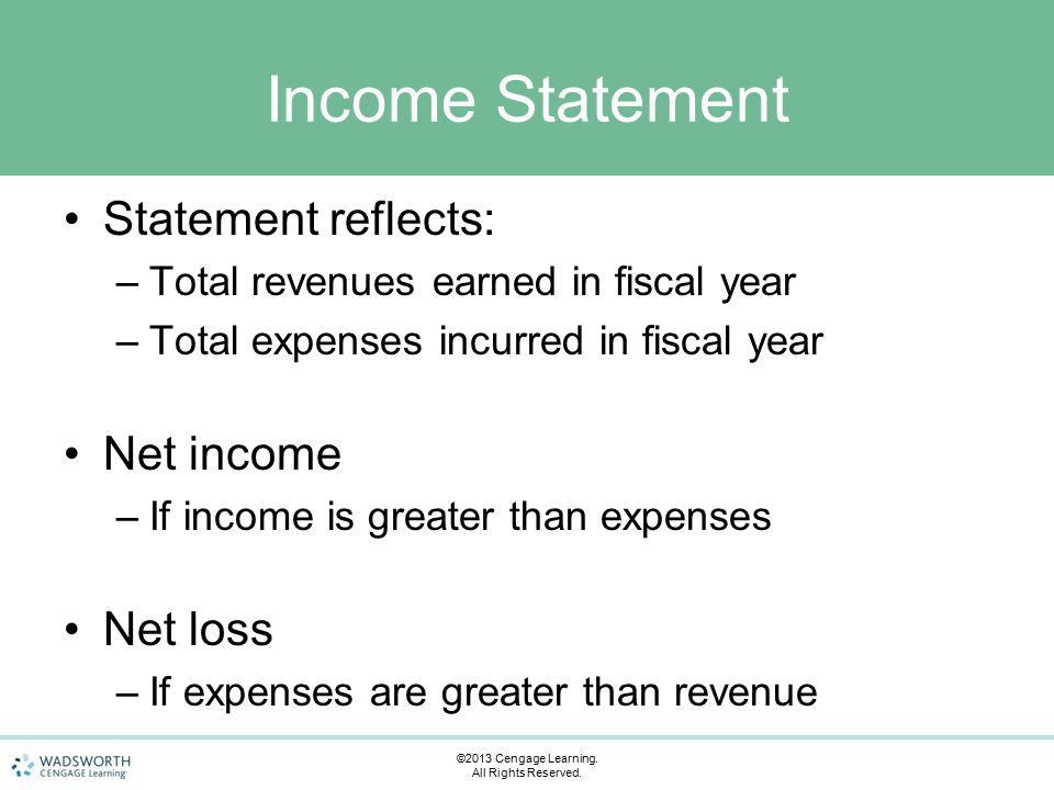 Income Statement Statement reflects: –Total revenues earned in fiscal year –Total expenses incurred in fiscal year Net income –If income is greater than expenses Net loss –If expenses are greater than revenue ©2013 Cengage Learning.