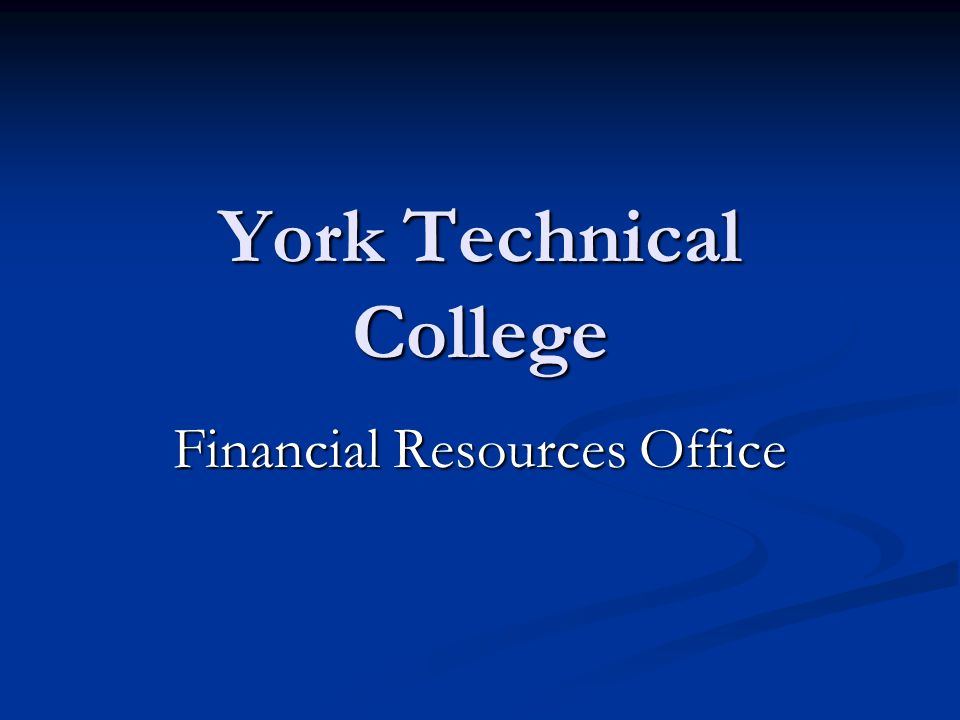 York Technical College Financial Resources Office