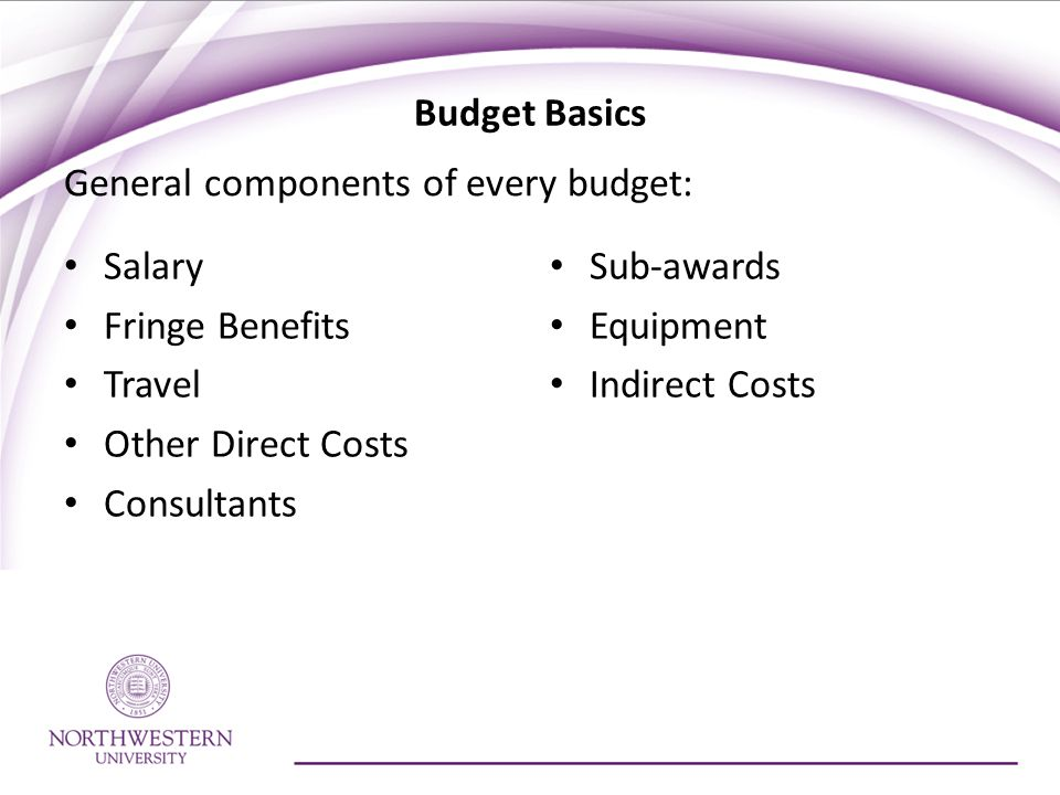 Salary Fringe Benefits Travel Other Direct Costs Consultants Sub-awards Equipment Indirect Costs General components of every budget:
