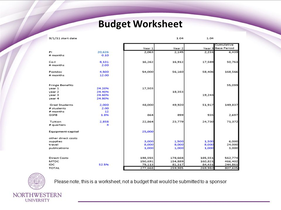 Budget Worksheet Please note, this is a worksheet, not a budget that would be submitted to a sponsor