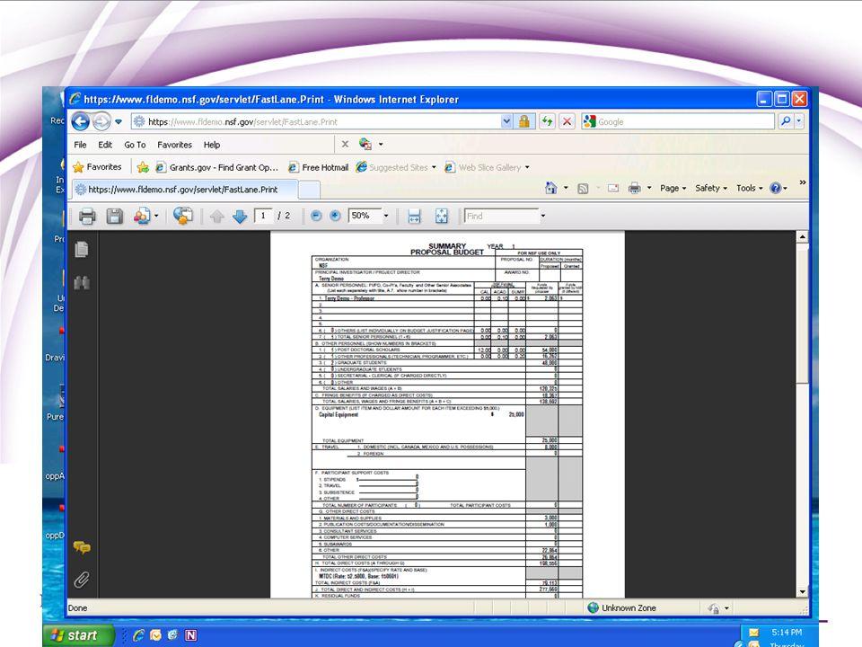NSF Budget in FastLane
