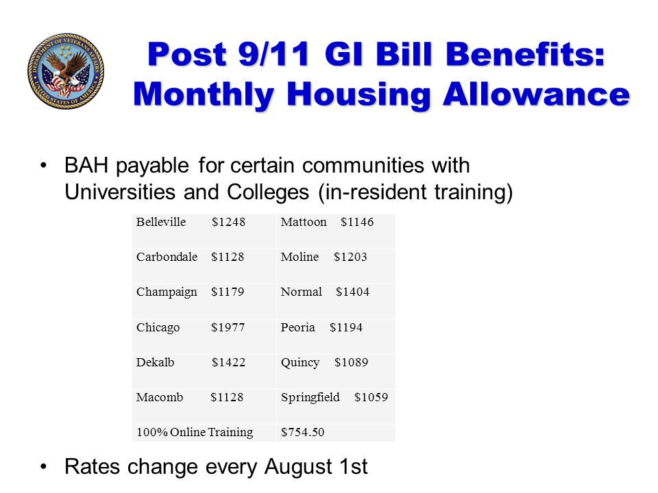 Post 9/11 GI Bill Benefits: Monthly Housing Allowance BAH payable for certain communities with Universities and Colleges (in-resident training) Rates