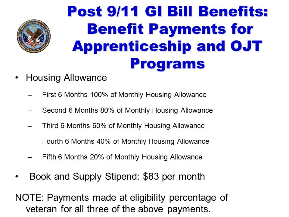 Post 9/11 GI Bill Benefits: Benefit Payments for Apprenticeship and OJT Programs Housing Allowance –First 6 Months 100% of Monthly Housing Allowance –