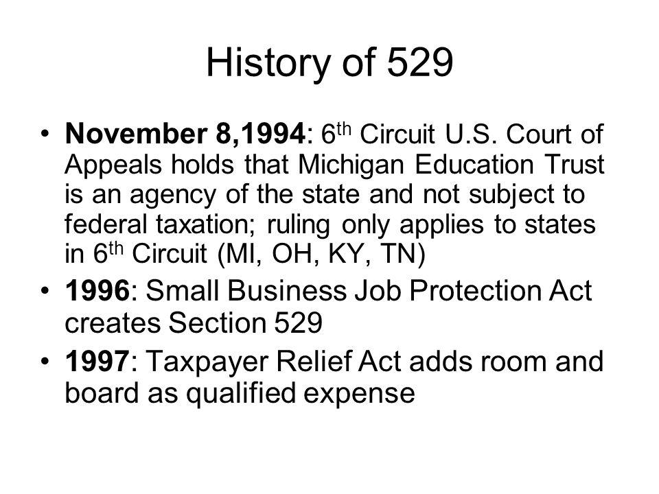 History of 529 November 8,1994: 6 th Circuit U.S.