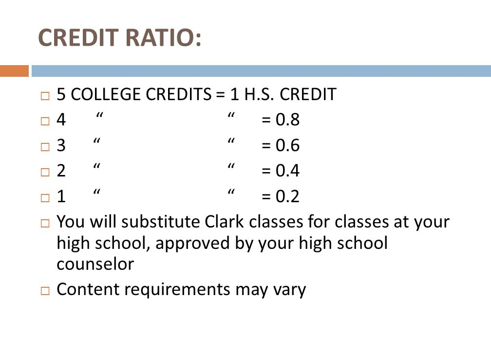 CREDIT RATIO:  5 COLLEGE CREDITS = 1 H.S.