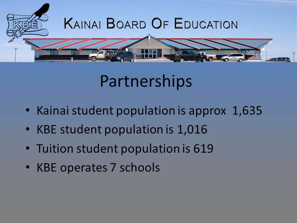 Partnerships Kainai student population is approx 1,635 KBE student population is 1,016 Tuition student population is 619 KBE operates 7 schools