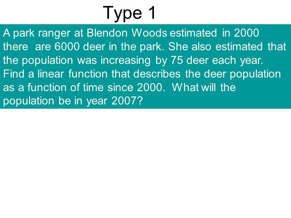 Type 1 A park ranger at Blendon Woods estimated in 2000 there are 6000 deer in the park. She also estimated that the population was increasing by 75 d