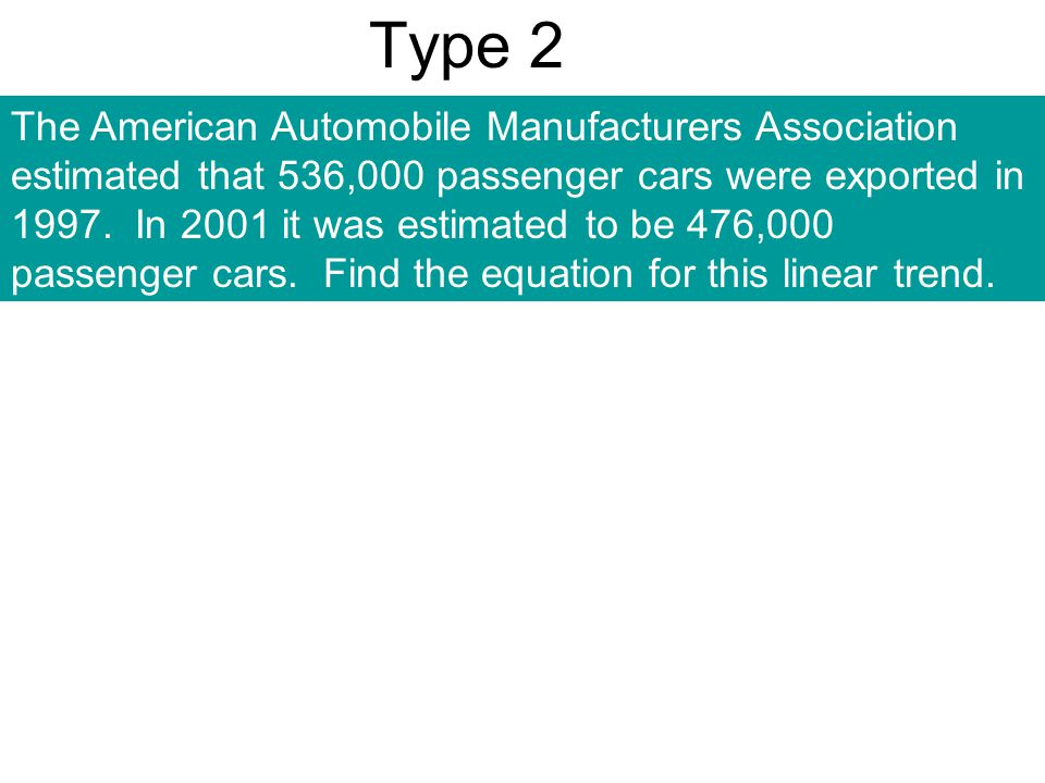 Type 2 The American Automobile Manufacturers Association estimated that 536,000 passenger cars were exported in 1997. In 2001 it was estimated to be 4