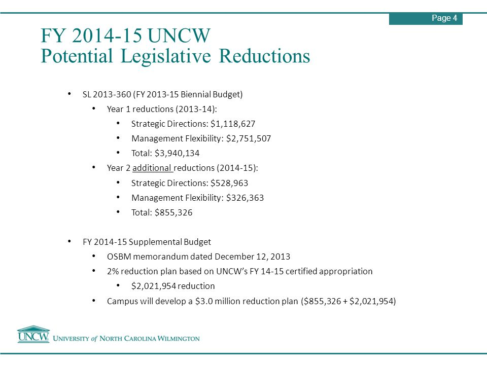 Page 4 FY 2014-15 UNCW Potential Legislative Reductions SL 2013-360 (FY 2013-15 Biennial Budget) Year 1 reductions (2013-14): Strategic Directions: $1,118,627 Management Flexibility: $2,751,507 Total: $3,940,134 Year 2 additional reductions (2014-15): Strategic Directions: $528,963 Management Flexibility: $326,363 Total: $855,326 FY 2014-15 Supplemental Budget OSBM memorandum dated December 12, 2013 2% reduction plan based on UNCW's FY 14-15 certified appropriation $2,021,954 reduction Campus will develop a $3.0 million reduction plan ($855,326 + $2,021,954)