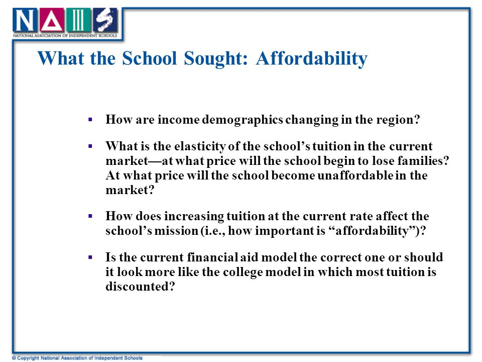 What the School Sought: Affordability  How are income demographics changing in the region.