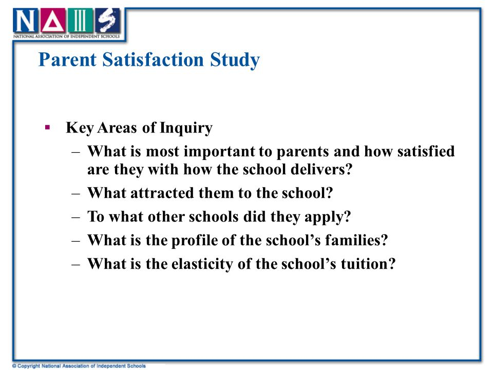 Parent Satisfaction Study  Key Areas of Inquiry –What is most important to parents and how satisfied are they with how the school delivers.
