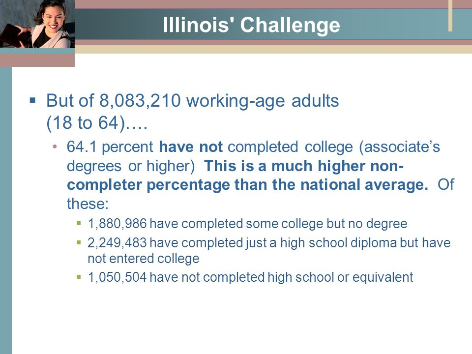 Illinois Challenge  But of 8,083,210 working-age adults (18 to 64)….