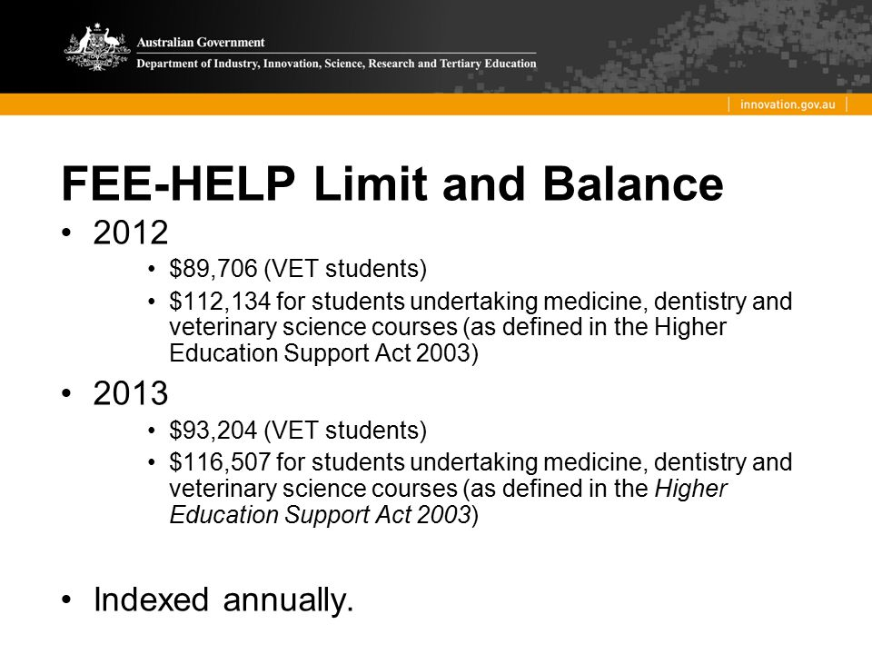 FEE-HELP Limit and Balance 2012 $89,706 (VET students) $112,134 for students undertaking medicine, dentistry and veterinary science courses (as define