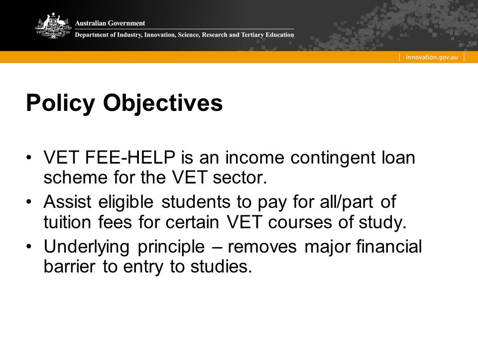 VET Unit of Study Units (subject, modules, structured training) undertaken as part of a VET course of study Provider sets and charges a VET tuition fee.