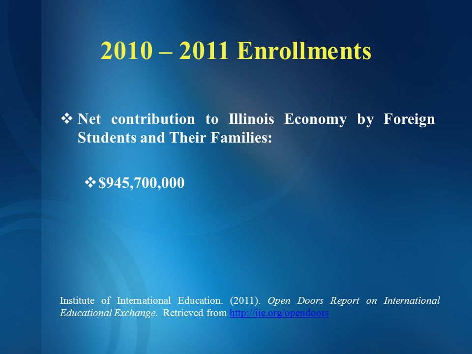 2010 – 2011 Enrollments  Net contribution to Illinois by Foreign Students Enrolled in Illinois Community Colleges:  $62,456,642  Revenue Generated Through Tuition and Fees charged to Foreign Students in Illinois Community Colleges:  $700,220