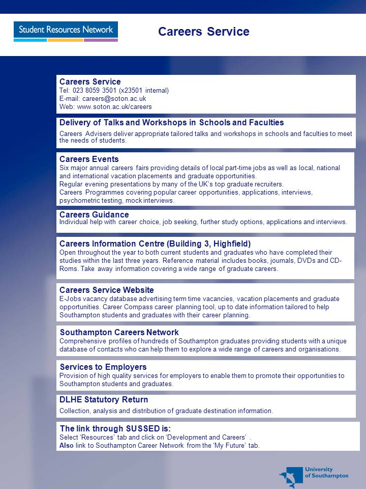 Careers Service Careers Service Tel: 023 8059 3501 (x23501 internal) E-mail: careers@soton.ac.uk Web: www.soton.ac.uk/careers.