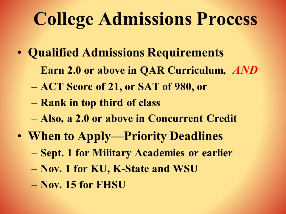 College Admissions Process Qualified Admissions Requirements –Earn 2.0 or above in QAR Curriculum, AND –ACT Score of 21, or SAT of 980, or –Rank in top third of class –Also, a 2.0 or above in Concurrent Credit When to Apply—Priority Deadlines –Sept.