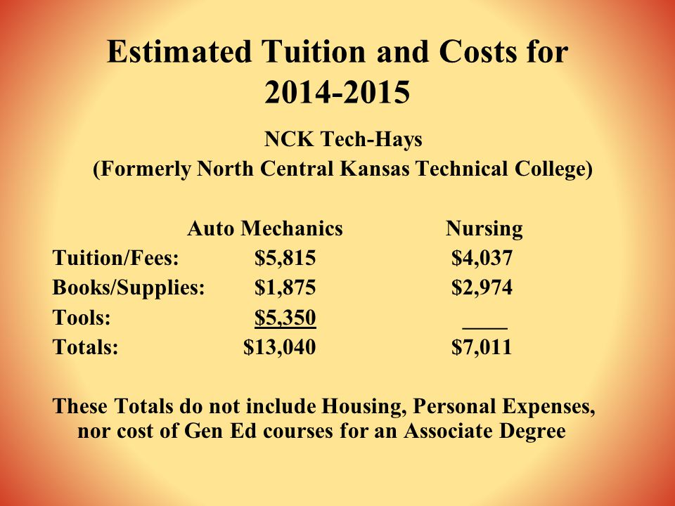 Estimated Tuition and Costs for 2014-2015 NCK Tech-Hays (Formerly North Central Kansas Technical College) Auto Mechanics Nursing Tuition/Fees:$5,815 $4,037 Books/Supplies:$1,875 $2,974 Tools:$5,350 ____ Totals: $13,040 $7,011 These Totals do not include Housing, Personal Expenses, nor cost of Gen Ed courses for an Associate Degree