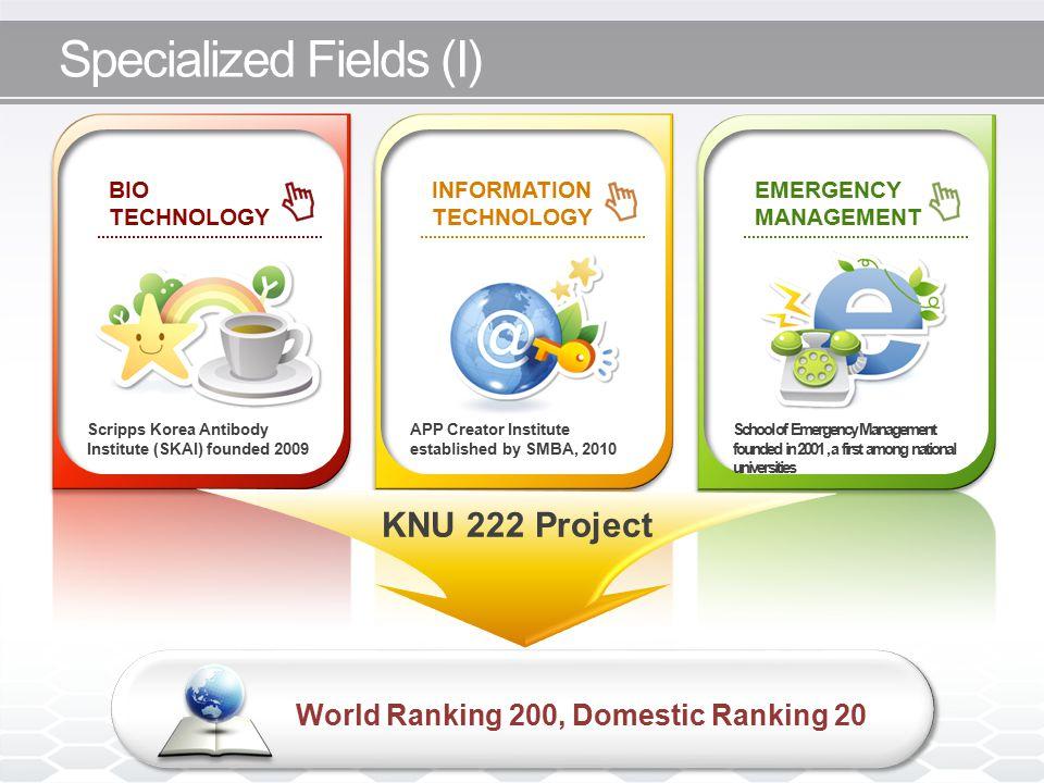 Specialized Fields (I) KNU 222 Project World Ranking 200, Domestic Ranking 20