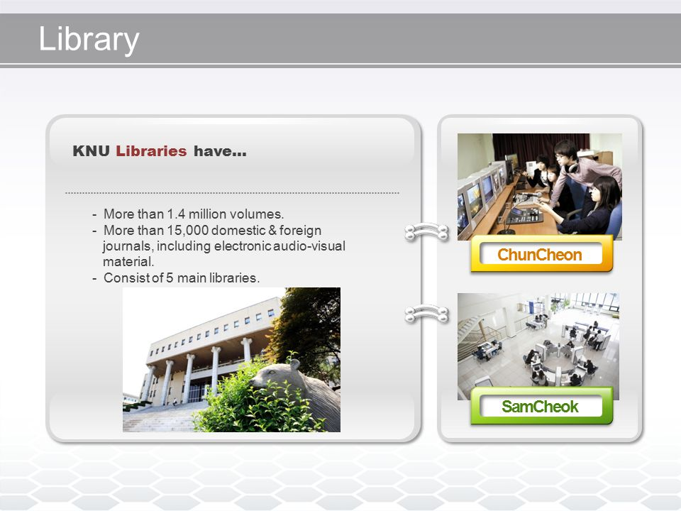 Library KNU Libraries have… - More than 1.4 million volumes.