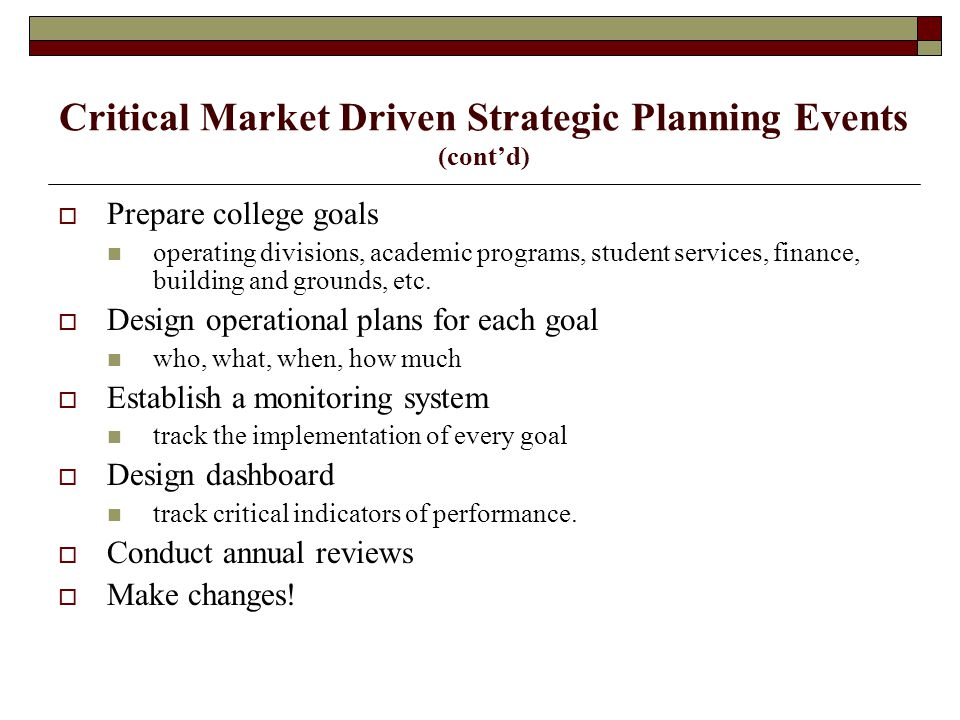 Critical Market Driven Strategic Planning Events (cont'd)  Prepare college goals operating divisions, academic programs, student services, finance, building and grounds, etc.