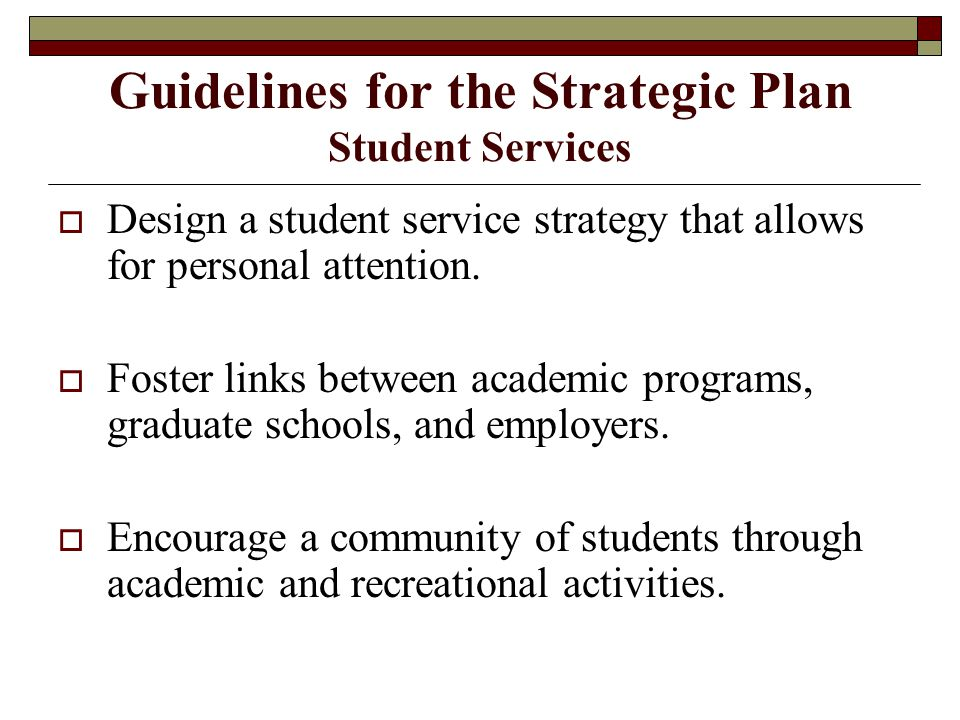 Guidelines for the Strategic Plan Student Services  Design a student service strategy that allows for personal attention.
