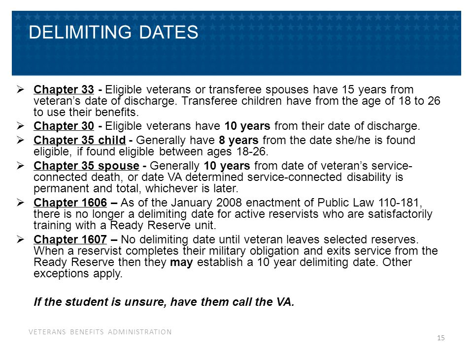 VETERANS BENEFITS ADMINISTRATION 15 DELIMITING DATES  Chapter 33 - Eligible veterans or transferee spouses have 15 years from veteran's date of disch