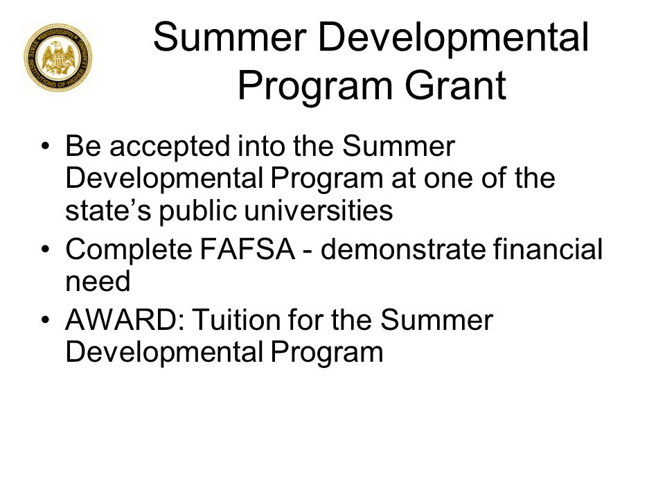 Summer Developmental Program Grant Be accepted into the Summer Developmental Program at one of the state's public universities Complete FAFSA - demonstrate financial need AWARD: Tuition for the Summer Developmental Program