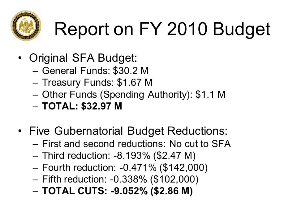 Report on FY 2010 Budget Original SFA Budget: –General Funds: $30.2 M –Treasury Funds: $1.67 M –Other Funds (Spending Authority): $1.1 M –TOTAL: $32.97 M Five Gubernatorial Budget Reductions: –First and second reductions: No cut to SFA –Third reduction: -8.193% ($2.47 M) –Fourth reduction: -0.471% ($142,000) –Fifth reduction: -0.338% ($102,000) –TOTAL CUTS: -9.052% ($2.86 M)