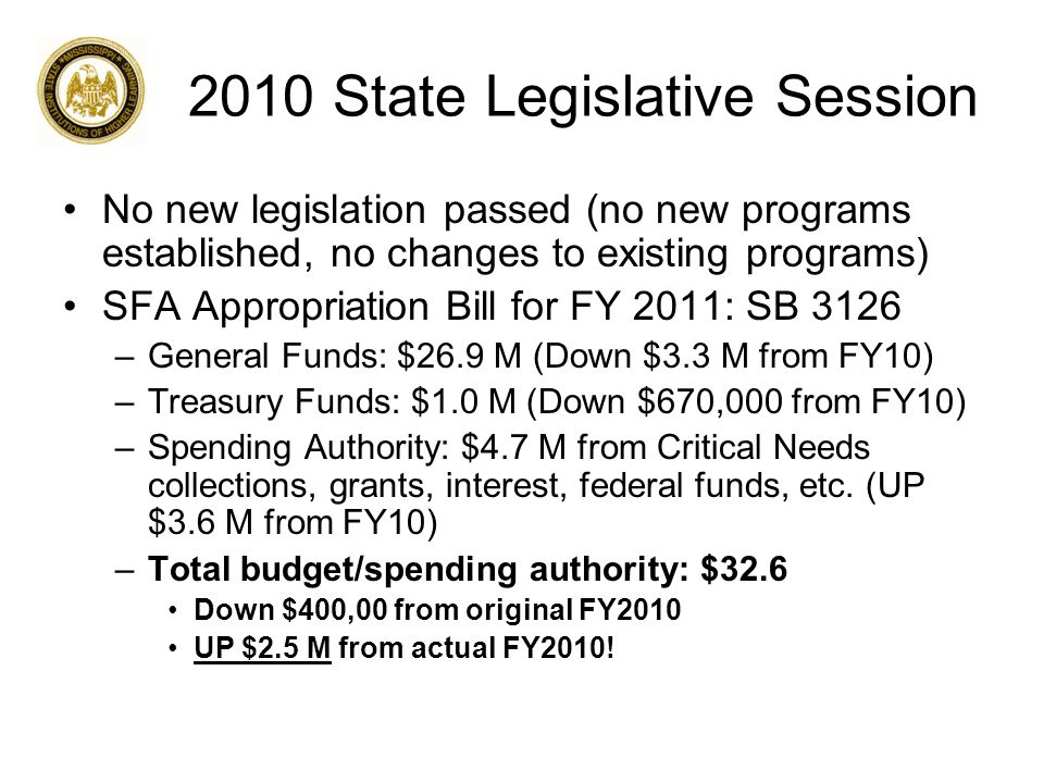 2010 State Legislative Session No new legislation passed (no new programs established, no changes to existing programs) SFA Appropriation Bill for FY 2011: SB 3126 –General Funds: $26.9 M (Down $3.3 M from FY10) –Treasury Funds: $1.0 M (Down $670,000 from FY10) –Spending Authority: $4.7 M from Critical Needs collections, grants, interest, federal funds, etc.
