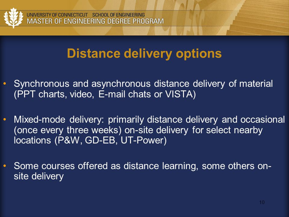 10 Distance delivery options Synchronous and asynchronous distance delivery of material (PPT charts, video, E-mail chats or VISTA) Mixed-mode delivery