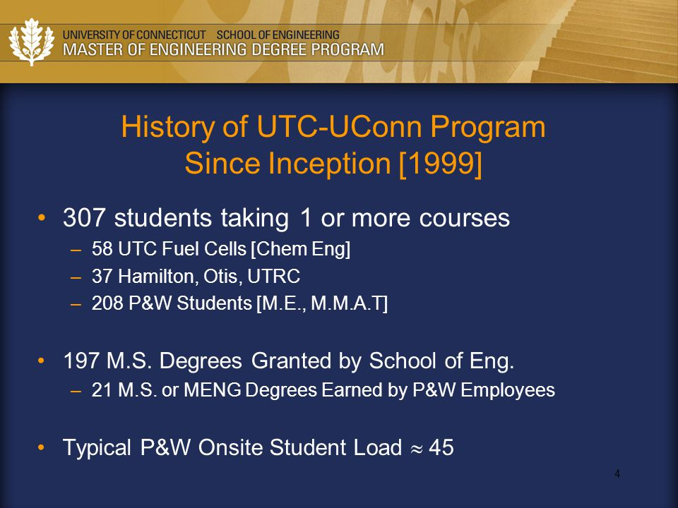 4 History of UTC-UConn Program Since Inception [1999] 307 students taking 1 or more courses –58 UTC Fuel Cells [Chem Eng] –37 Hamilton, Otis, UTRC –20