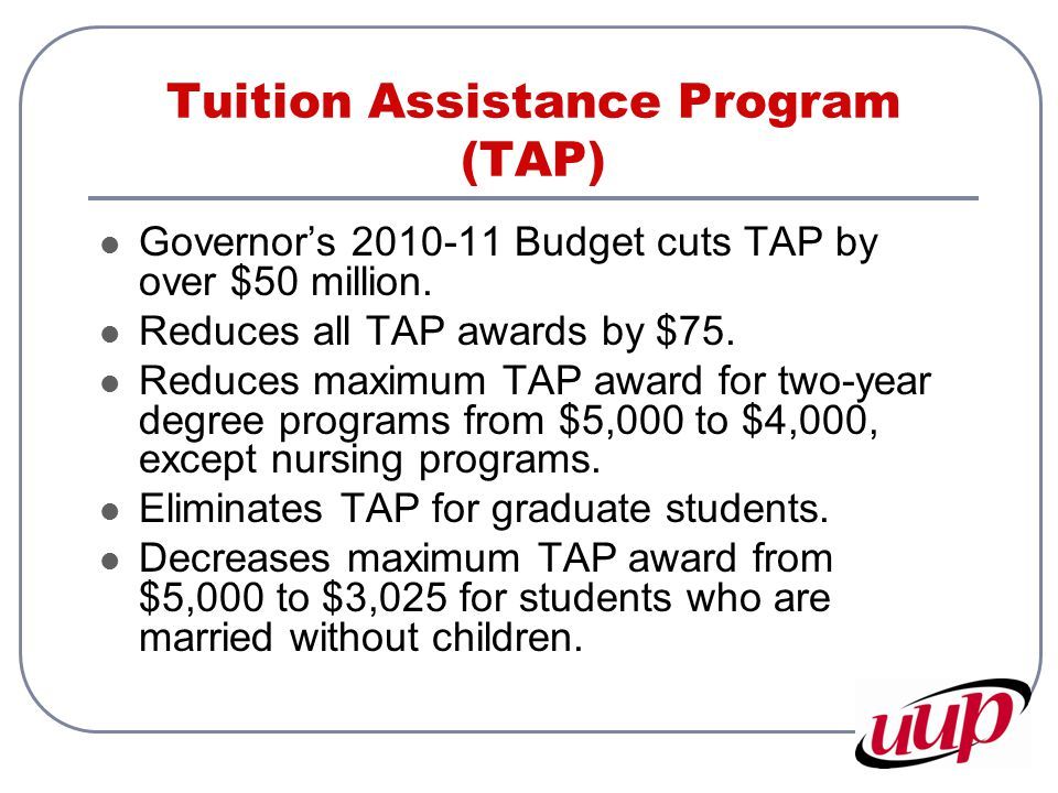 Tuition Assistance Program (TAP) Governor's 2010-11 Budget cuts TAP by over $50 million. Reduces all TAP awards by $75. Reduces maximum TAP award for